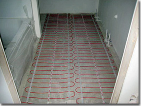 floor heating mats installed for radiant heated bathroom floor